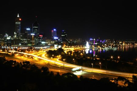perth: Perth City Skyline at Night Western Australia