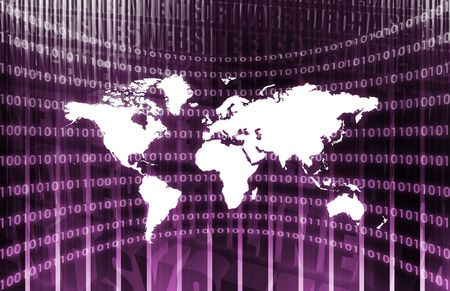 teleconferencing: World Communications in Purple with Map Abstract