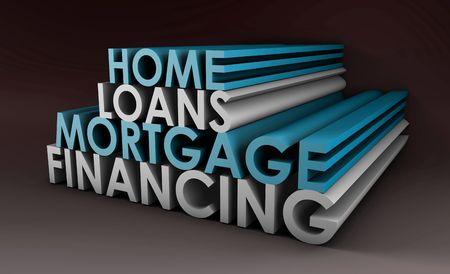 home loans: Home Loans Mortgage finanziamento concept in 3d  Archivio Fotografico