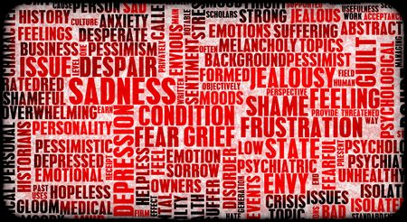 emotional grief: Negative Emotions Building Up Stress As Art Stock Photo