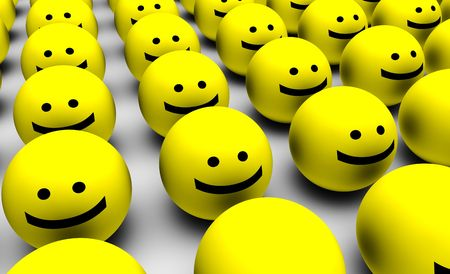 full face: 3D Round Smiley Faces as Background Abstract