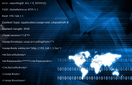 Global Business System on a Blue Background Stock Photo - 6179963