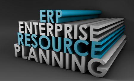 �resource: Arte del concepto de 3d de ERP de planificaci�n de recursos empresariales