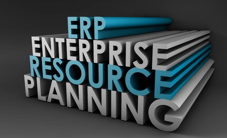 scm: Enterprise Resource Planning ERP 3d Concept Art Stock Photo