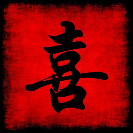 Happiness Chinese Calligraphy Symbol Grunge Background Set  photo