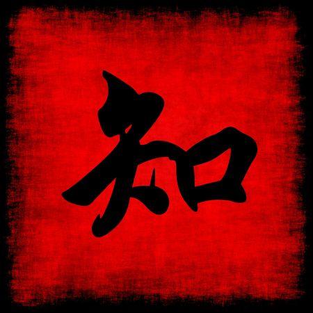 Knowledge Chinese Calligraphy Symbol Grunge Background Set photo