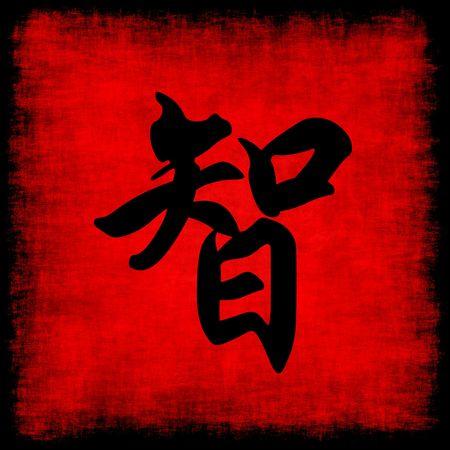 bravery: Wisdom Chinese Calligraphy Symbol Grunge Background Set