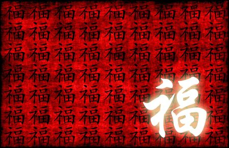 Prosperity Calligraphy on a Ancient Chinese Scroll photo