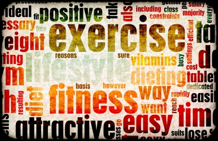 terminology: Exercise Fitness Lifestyle as a Background Art Stock Photo