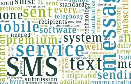 mococa: SMS Mobile Text Short Message Service Concept Stock Photo