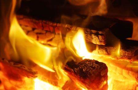blazes: Wood Burning With Flames in a Fireplace