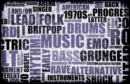 genre: Music Background With Different Genres and Types Stock Photo