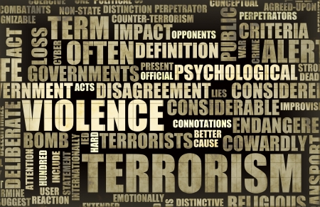 terrorists: Terrorism in the News Headline Newspaper Art Stock Photo