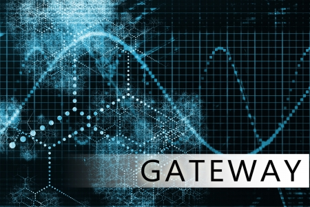 Gateway in a Blue Data Background Illustration Stock Illustration - 6441055