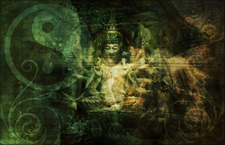 sacred symbol: China Abstract Art Buddha as a Background