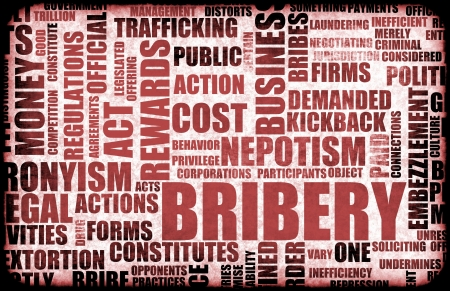 offence: Bribery in the Government in a Corrupt System Stock Photo
