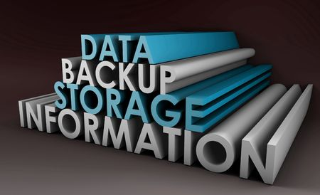 storage device: Data Backup Information in 3d Art Sign