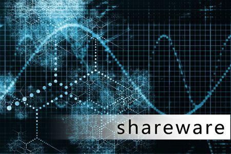 shareware: Shareware in a Blue Data Background Illustration Stock Photo
