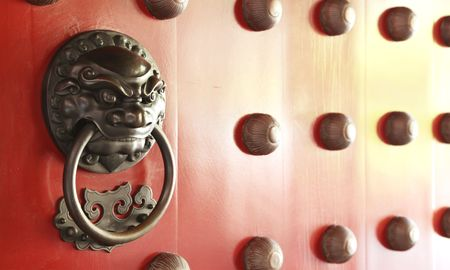 Chinese Door with a Lion Dragon Protector Stock Photo - 6579852