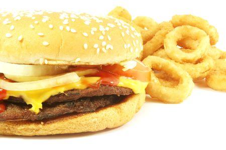 Hamburger Food Isolated on a White Background photo