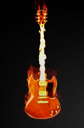 Flaming Guitar with a Supernatural Burning Fire Stock Photo - 6623253