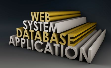 system development: Web Application Database System in 3d Background Stock Photo
