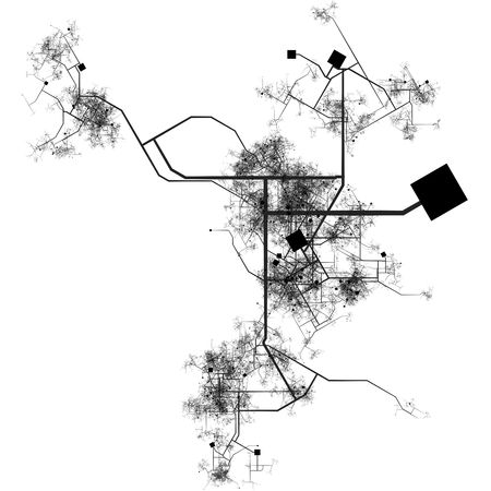 Generic City with Roads Transport System Map Art photo