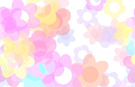 soothing: Cute Cartoon Flowers Background with Floral Art