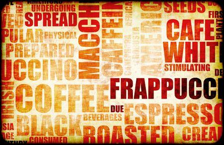 informational: Coffee Menu Beverage as a Art Grunge Background Stock Photo