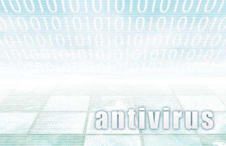 technolgy: Antivirus on a Clear Blue Tech Background Stock Photo