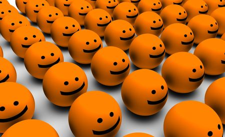 cartoony: Happiness with a Group of Happy Faces