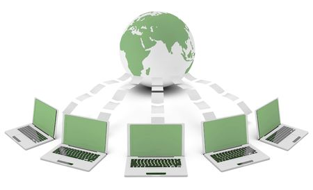going green: Green Technology 3d Idea as Environment Friendly Stock Photo