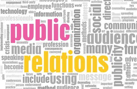 relations publiques: Concept de PR de relations publiques comme un r�sum�. Banque d'images