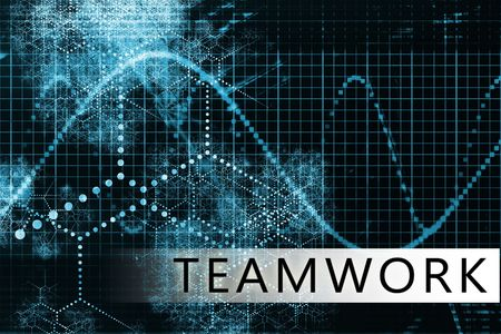 convention: Teamwork in a Blue Data Background Illustration
