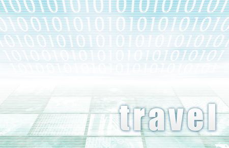 Travel on a Clear Blue Tech Background