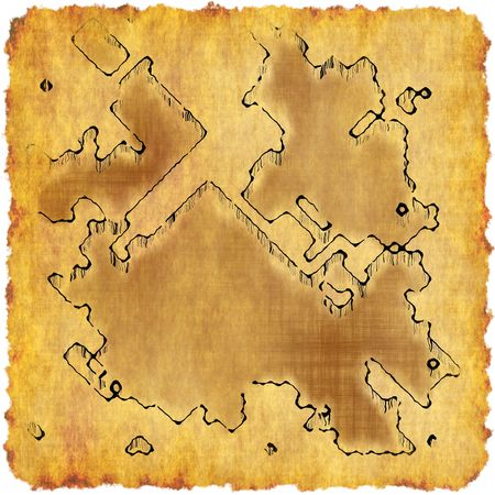 Treasure Map on Old Yellow Parchment Paper