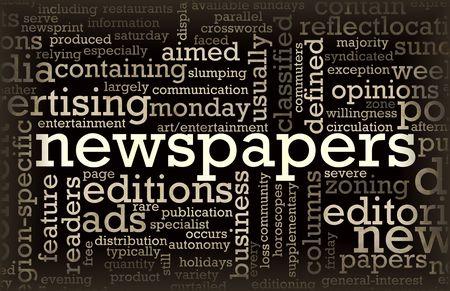 신문 업데이트 및 헤드 라인의 신문 개념