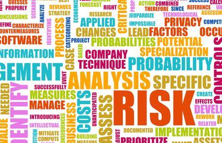 perdidas y ganancias: Nube de Word de concepto de an�lisis de riesgo como fondo Foto de archivo