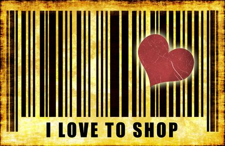 I Love To Shop Barcode Grunge Abstract Poster Stock Photo - 6732893