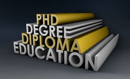 credential: Higher Learning in 3d Degree Diploma and Phd Stock Photo