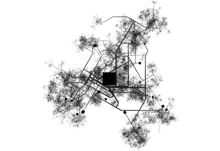 urban sprawl: Transport System Map Blueprint of a City Stock Photo