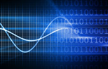 analytical: Blue Virtual Business Analysis with Graph Chart Stock Photo