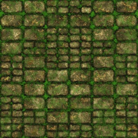 seamless tile: Seamless Stone Path with Moss as Background Stock Photo