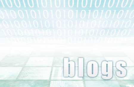 Blogs on a Clear Blue Tech Background