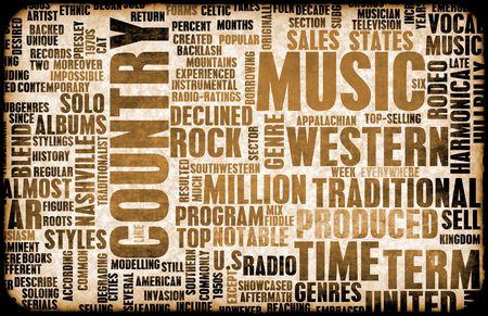 letras musicales: G�nero de la m�sica country como un fondo de grunge Foto de archivo