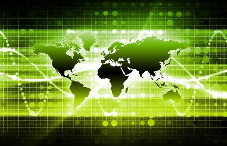 latest: Green International News Update with Globe Map Stock Photo