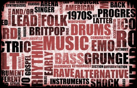 genres: Music Background With Different Genres and Types Stock Photo