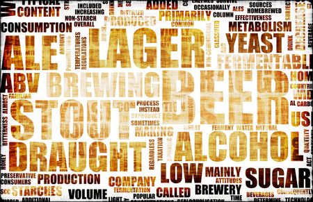 food and drink industry: Beer Drink Types Menu as a Grunge Background Stock Photo
