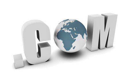 web presence internet presence: Dot Com of a Global Website on the Internet Stock Photo