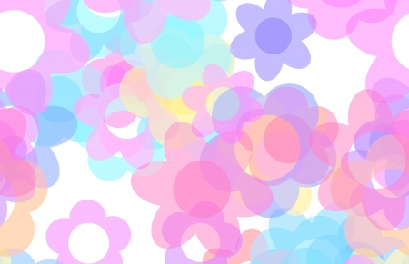 Cute Cartoon Flowers Background with Floral Art photo